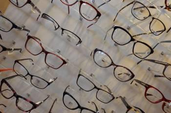 eyeglasses wall display on a slant
