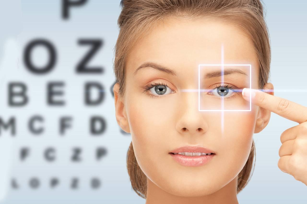 eye chart caucasian woman