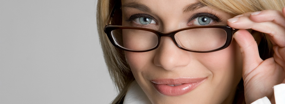 eyeglasses on woman with blue eyes and blonde hair