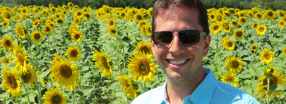 man-sunflowers