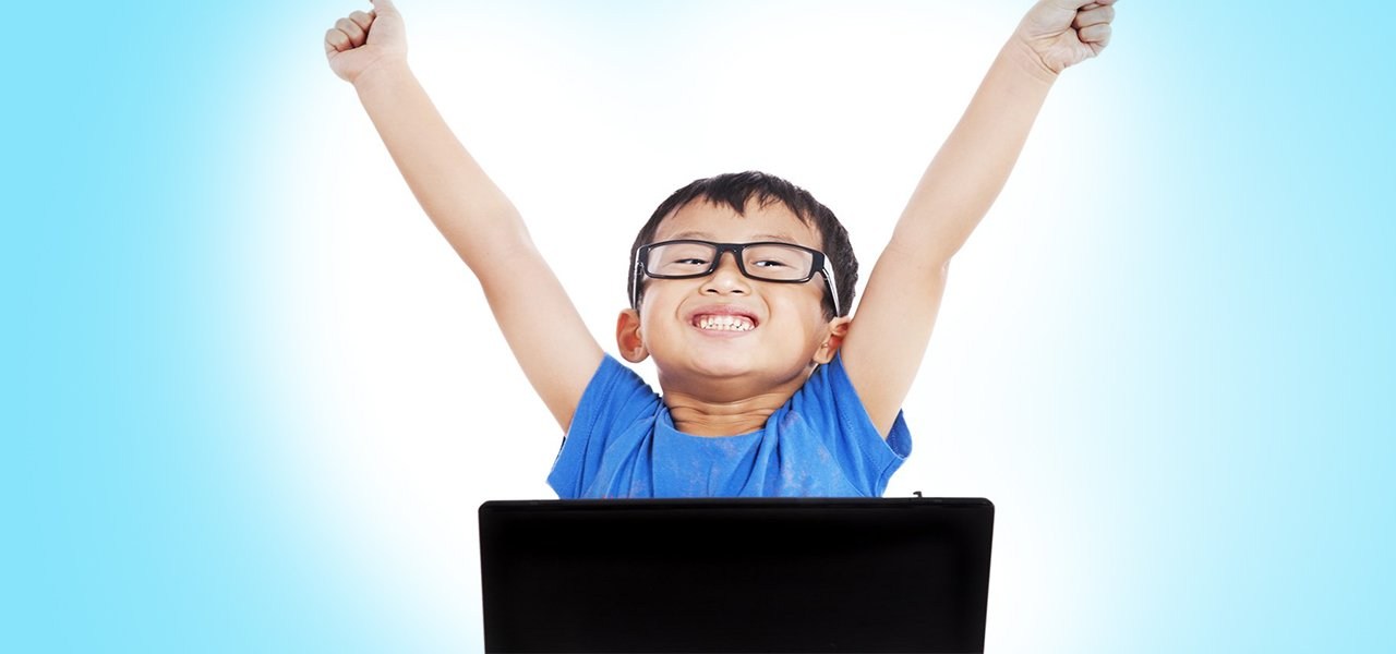 asian technology boy hands up