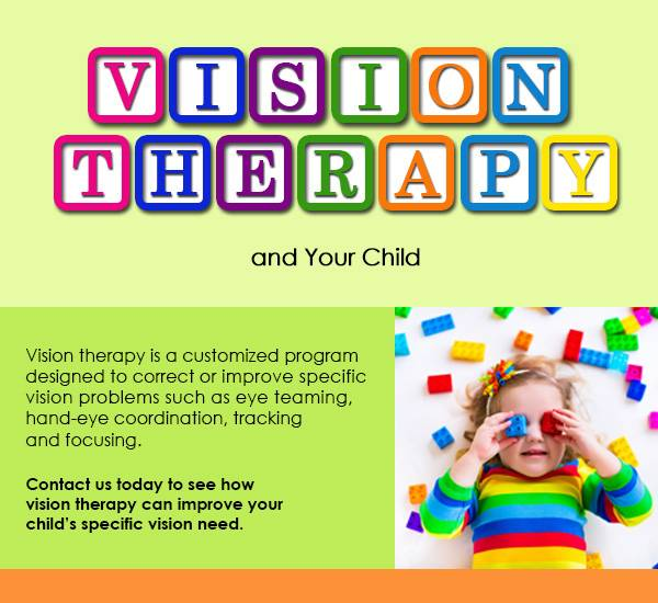 vision therapy written in block and child with colorful blocks over her eyes