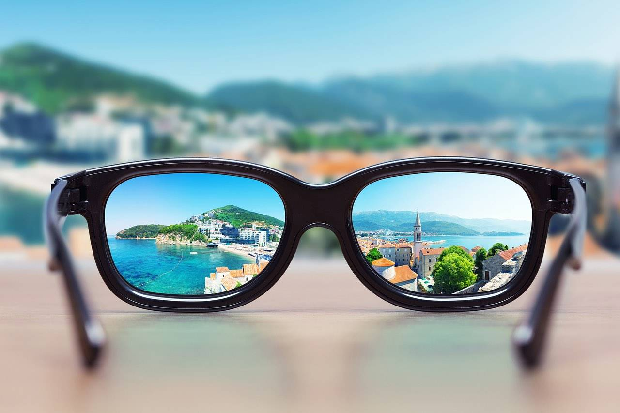 eyeglasses on mediterranean background