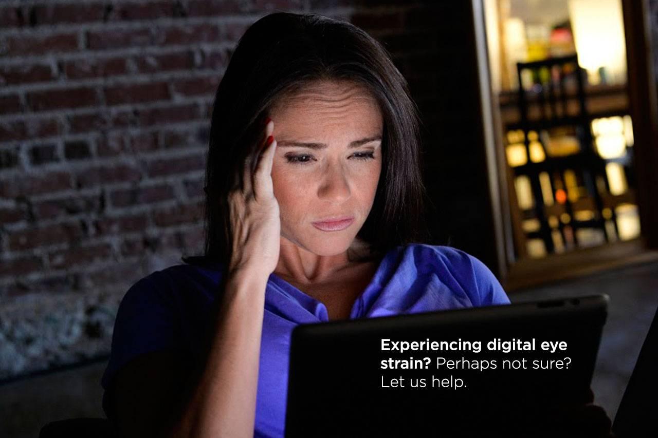 eye strain digital woman squinting