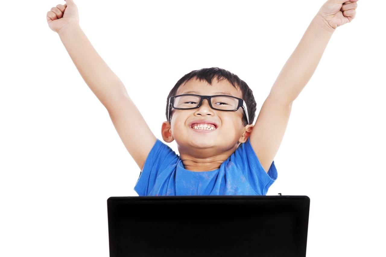 technology boy asian hands up