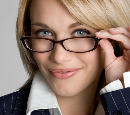 Woman with Prescription Eyeglasses